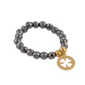 Pierścionek złota koniczynka,szare kryształki